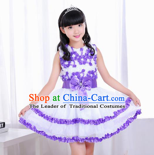 Top Grade Chorus Costumes Stage Performance Purple Bubble Dress Children Modern Dance Clothing for Kids