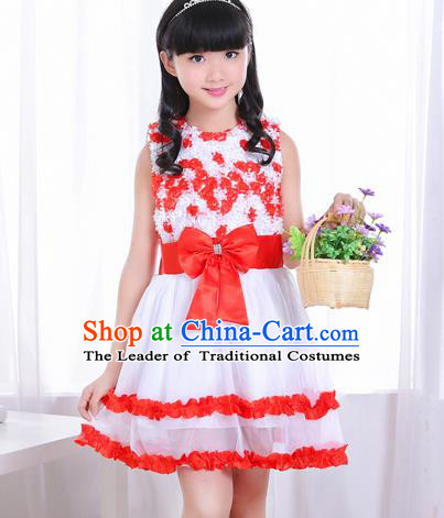 Top Grade Chorus Costumes Stage Performance Red Bubble Dress Children Modern Dance Clothing for Kids