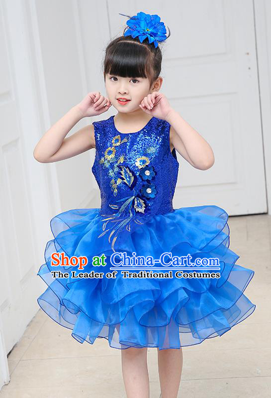 Top Grade Chorus Costumes Stage Performance Royalblue Sequins Bubble Dress Children Modern Dance Clothing for Kids