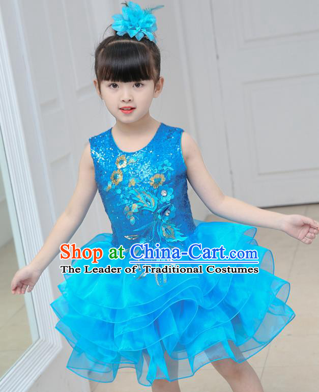 Top Grade Chorus Costumes Stage Performance Blue Sequins Bubble Dress Children Modern Dance Clothing for Kids