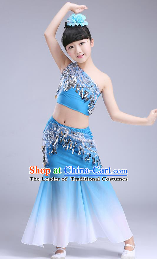 Chinese Traditional Folk Dance Costumes Pavane Dance Blue Dress Children Classical Peacock Dance Clothing for Kids