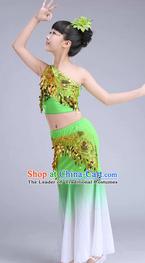 Chinese Traditional Folk Dance Costumes Pavane Dance Green Dress Children Classical Peacock Dance Clothing for Kids