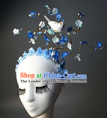 Top Grade Catwalks Hair Accessories Halloween Catwalks Flowers Hair Clasp Stage Performance Modern Fancywork Headwear