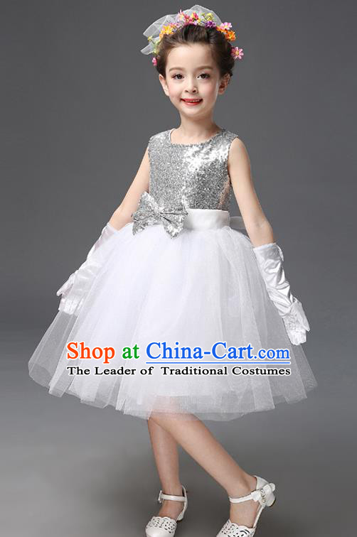 Top Grade Princess White Bubble Dress Stage Performance Chorus Costumes Children Modern Dance Clothing for Kids