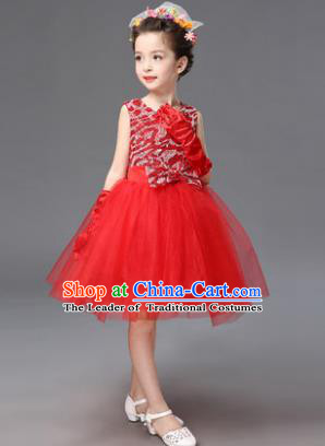 Top Grade Princess Red Bubble Dress Stage Performance Chorus Costumes Children Modern Dance Clothing for Kids