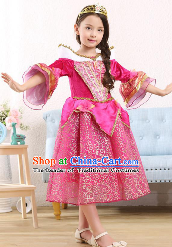 Top Grade Halloween Princess Dress Girls Stage Performance Costumes Rosy Full Dress for Kids