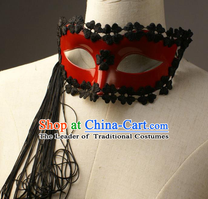 Halloween Exaggerated Tassel Red Face Mask Fancy Ball Props Stage Performance Accessories Christmas Mysterious Masks