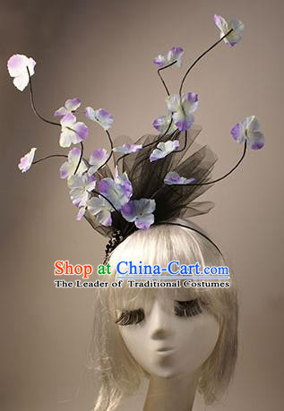 Top Grade Catwalks Hair Accessories Halloween Stage Performance Flowers Hair Clasp Modern Fancywork Headwear