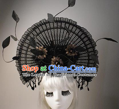 Top Grade China Catwalks Hair Accessories Halloween Modern Fancywork Fan-Shape Hair Clasp Headwear