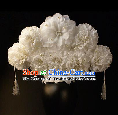 Top Grade China Catwalks Hair Accessories Halloween Modern Fancywork White Flowers Hair Clasp Headwear
