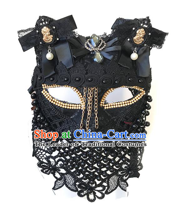 Halloween Catwalks Venice Face Mask Fancy Ball Black Beads Lace Masks Christmas Exaggerated Feather Masks