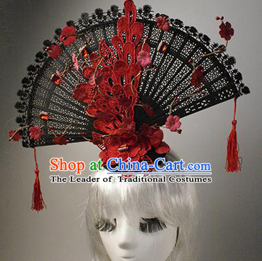 Top Grade China Catwalks Hair Accessories Halloween Modern Fancywork Red Lace Fan-Shape Hair Clasp Headwear