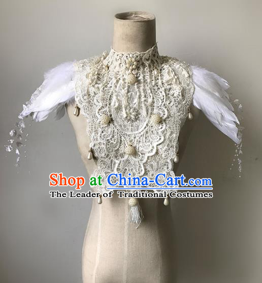 Top Grade Catwalks Gothic Shoulder Accessories Exaggerated White Feather Cape Halloween Modern Fancywork Headwear
