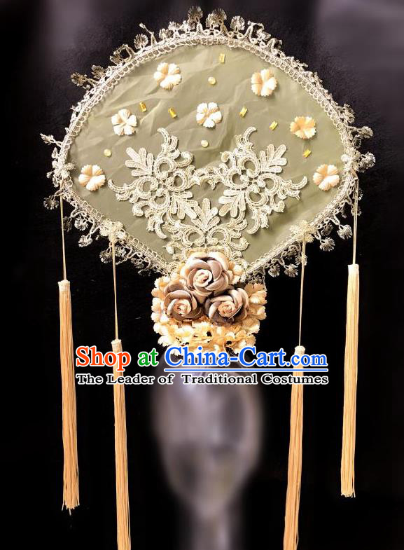 Top Grade Catwalks Golden Flowers Hair Accessories Exaggerated Chinese Traditional Headdress Modern Fancywork Headwear