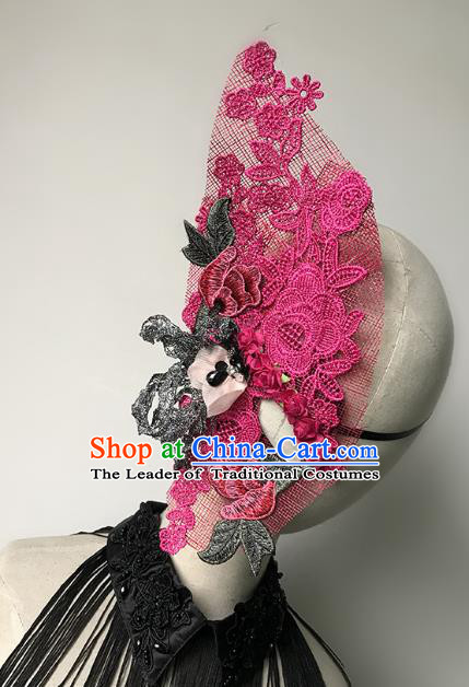 Halloween Catwalks Venice Face Mask Fancy Ball Rosy Lace Half Masks Christmas Exaggerated Feather Masks
