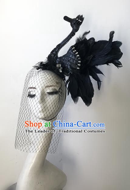 Top Grade Catwalks Hair Accessories Baroque Exaggerated Black Feather Swan Hair Clasp Modern Fancywork Headwear