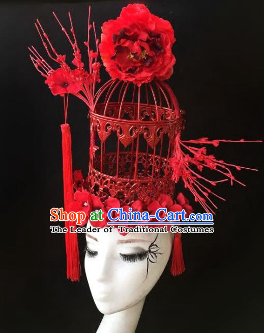 Top Grade Catwalks Hair Accessories Exaggerated Chinese Red Birdcage Hair Clasp Modern Fancywork Headwear