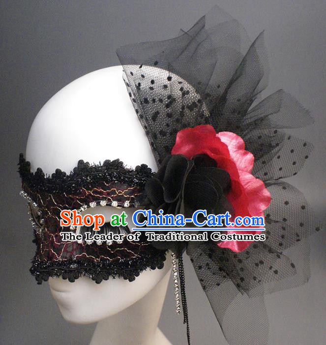 Halloween Exaggerated Queen Black Veil Face Mask Venice Fancy Ball Props Catwalks Accessories Christmas Masks