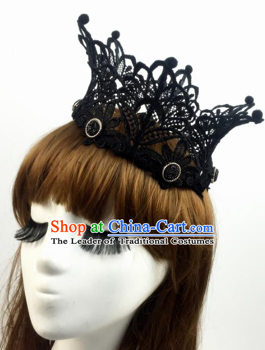 Top Grade Catwalks Hair Accessories Exaggerated Black Lace Royal Crown Halloween Modern Fancywork Headwear
