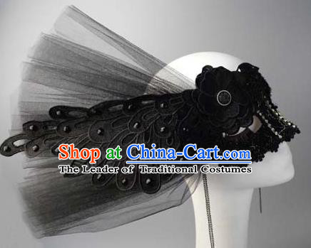 Halloween Exaggerated Queen Black Peacock Face Mask Venice Fancy Ball Props Catwalks Accessories Christmas Masks