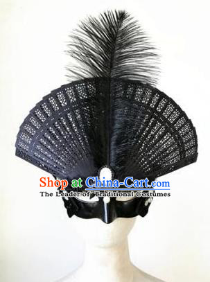 Top Grade Chinese Traditional Catwalks Black Hair Accessories Exaggerated Halloween Modern Fancywork Wedding Headwear
