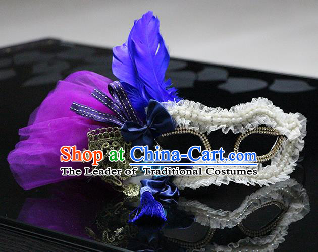 Halloween Catwalks Venice Blue Feather Face Mask Fancy Ball Props Accessories Christmas Exaggerated Masks
