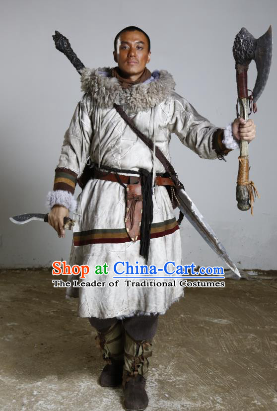 Teleplay Tribes and Empires:Storm of Prophecy Chinese Ancient Grassland Warrior King Costume for Men