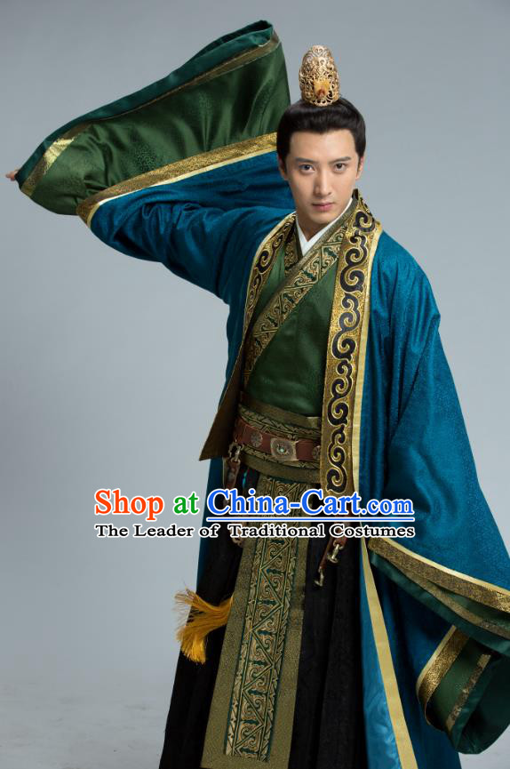 Chinese Ancient Monarch Clothing Northern Zhou Dynasty Imperial Emperor Yuwen Yong Historical Costume for Men