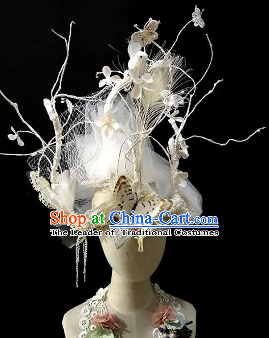 Top Grade Catwalks Hair Accessories Exaggerated White Butterfly Hair Clasp Modern Fancywork Headwear
