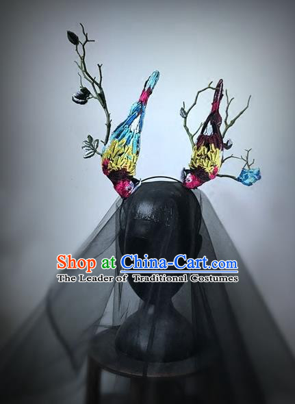 Top Grade Catwalks Hair Accessories Exaggerated Colorful Birds Hair Clasp Modern Fancywork Headwear