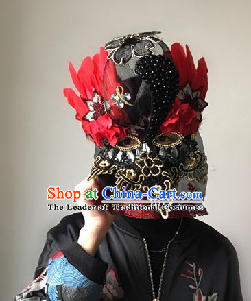 Halloween Handmade Red Feather Face Mask Fancy Ball Catwalks Masks Christmas Exaggerated Feather Masks