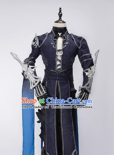China Ancient Swordsman Costume Purple Robe Chinese Traditional Knight-errant Clothing for Men