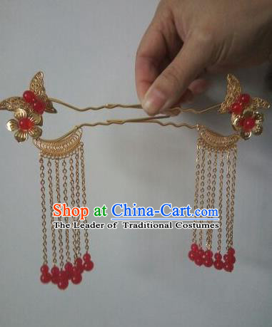 China Ancient Hair Accessories Hanfu Princess Golden Hair Clips Chinese Classical Hairpins for Women