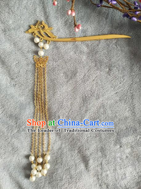 China Ancient Hair Accessories Hanfu Princess Pearls Tassel Golden Hair Clips Chinese Classical Hairpins for Women
