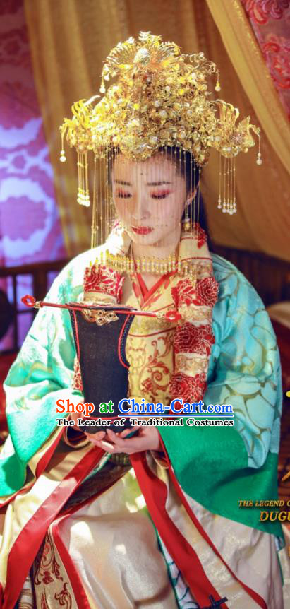 Chinese Ancient Queen Dugu Hanfu Dress Northern Zhou Dynasty Empress Historical Costume and Headpiece Complete Set