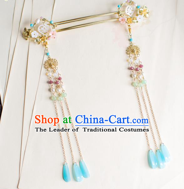 Chinese Traditional Palace Hair Accessories Xiuhe Suit Tassel Hair Clips Ancient Hairpins for Women