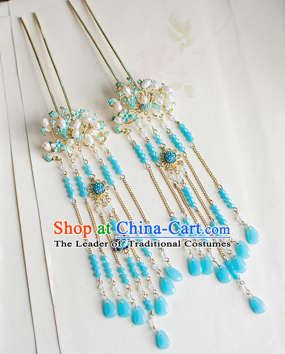 Chinese Traditional Palace Hair Accessories Xiuhe Suit Blue Tassel Hair Clips Ancient Hairpins for Women