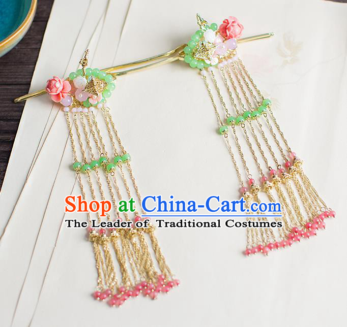 Chinese Traditional Palace Hair Accessories Xiuhe Suit Green Beads Hair Clips Ancient Hairpins for Women