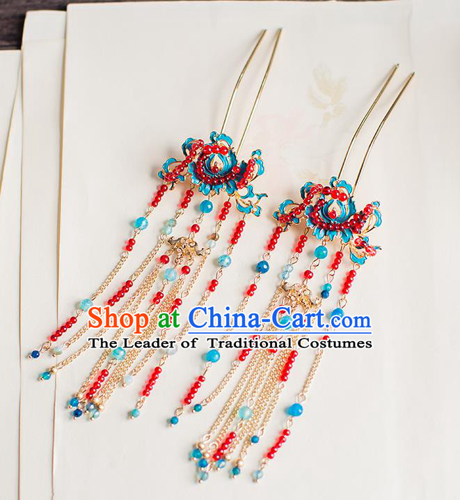Chinese Traditional Palace Hair Accessories Xiuhe Suit Red Beads Hair Clips Ancient Hairpins for Women