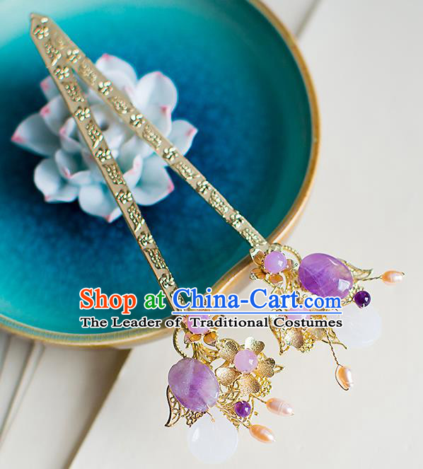 Chinese Traditional Palace Hair Accessories Xiuhe Suit Purple Jade Hair Clips Ancient Hairpins for Women