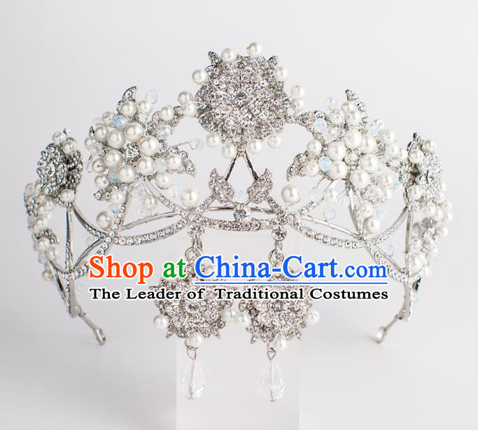Baroque Bride Hair Accessories Classical Wedding Princess Crystal Pearls Imperial Crown Headwear for Women