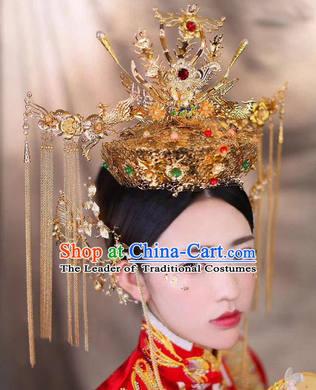 Chinese Traditional Wedding Hair Accessories Ancient Empress Phoenix Coronet Hairpins Step Shake for Women