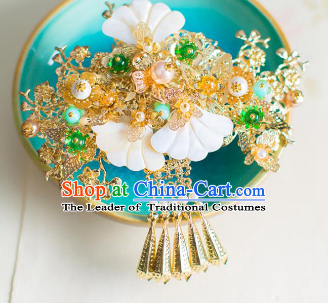 Chinese Traditional Palace Hair Accessories Wedding Shell Hair Stick Ancient Xiuhe Suit Hairpins for Women