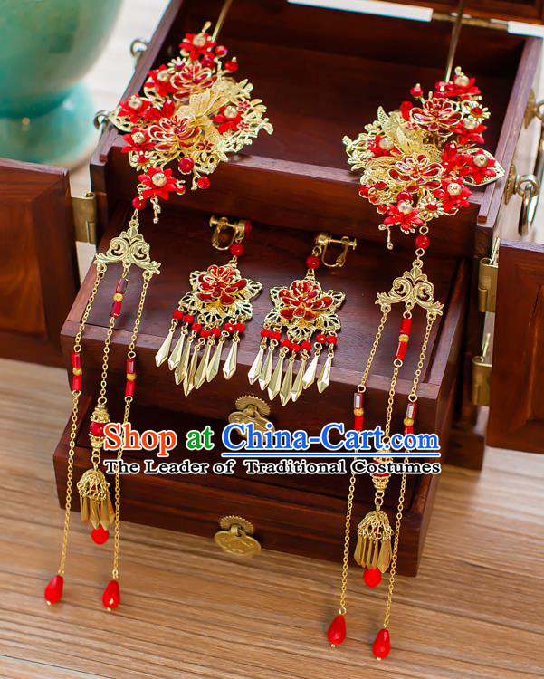 Chinese Traditional Palace Hair Accessories Xiuhe Suit Hair Clip Ancient Tassel Hairpins Complete Set for Women