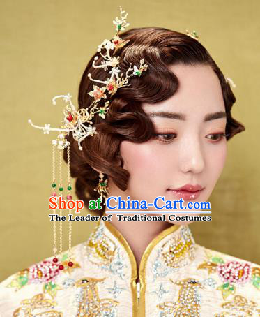 Chinese Traditional Palace Hair Accessories Xiuhe Suit Tassel Step Shake Ancient Hairpins Complete Set for Women