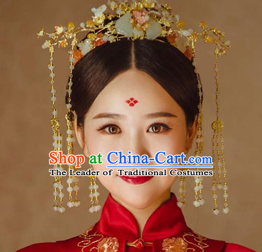 Chinese Traditional Palace Hair Accessories Xiuhe Suit Jade Phoenix Coronet Ancient Hairpins Complete Set for Women