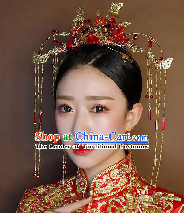 Chinese Traditional Palace Hair Accessories Xiuhe Suit Red Phoenix Coronet Ancient Hairpins Complete Set for Women