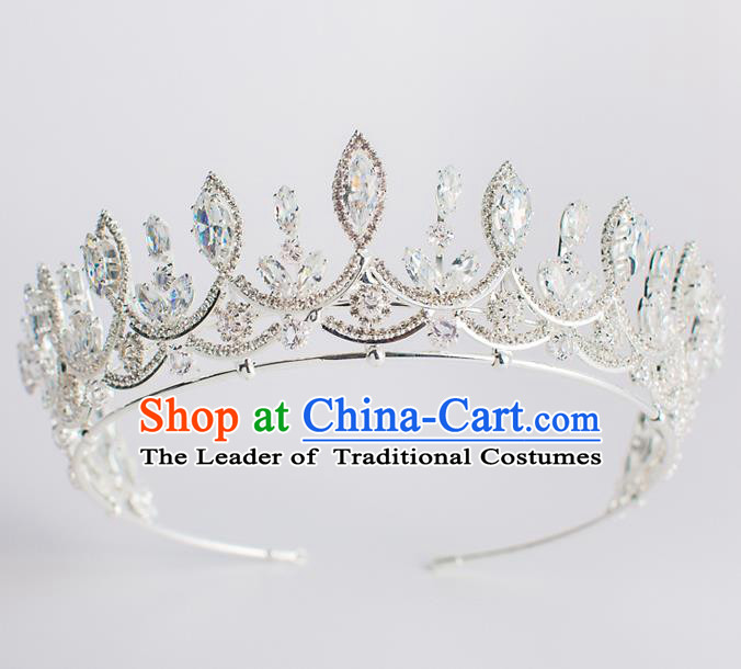 Baroque Bride Hair Accessories Princess Zircon Royal Crown Wedding Classical Crystal Imperial Crown for Women