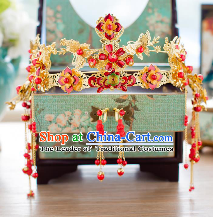 Chinese Traditional Palace Hair Accessories Ancient Xiuhe Suit Red Flowers Phoenix Coronet Hairpins for Women
