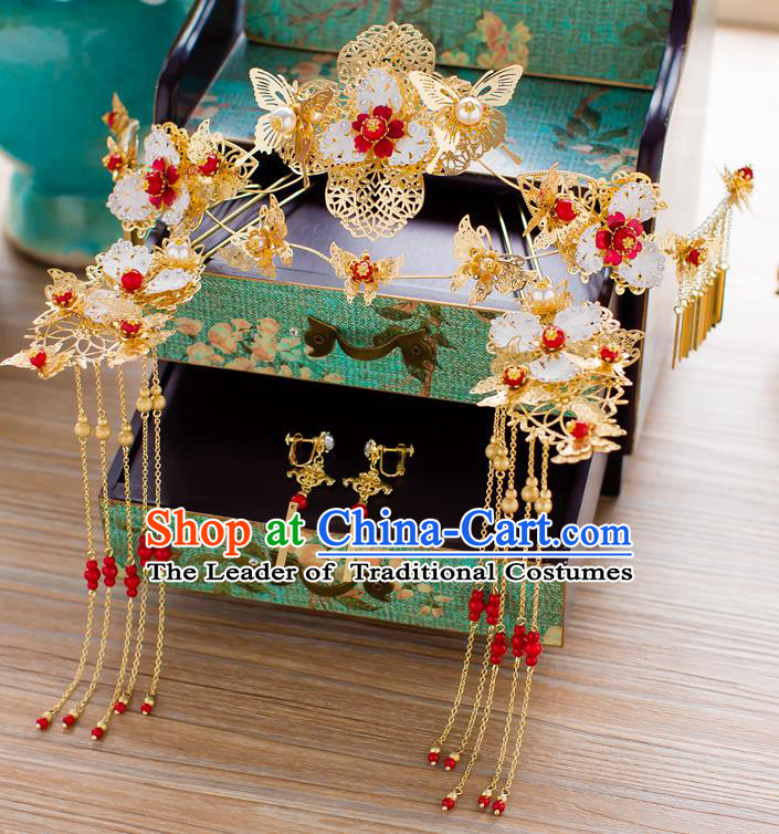 Chinese Traditional Palace Hair Accessories Ancient Xiuhe Suit Golden Phoenix Coronet Hairpins for Women